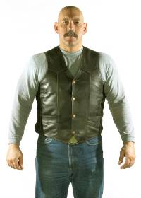MV302-Brown<br>Plain Brown Leather Vest (Heavy Weight)