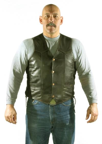 MV303-Brown<br>Mens Vest with Side Laces, 2 Front, 2 Inside pockets, Cowhide Leather