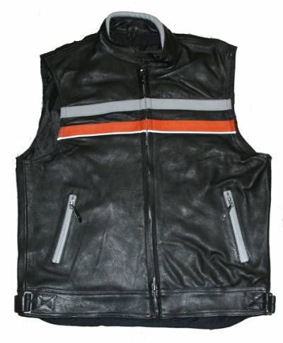 MV305<br>Mens Orange/Black Leather Vest w/ Reflective Strip