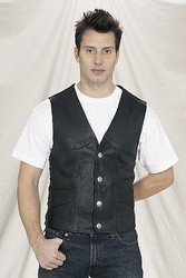 MV317-01<br>Deluxe Leather Vest w/ Side Laces - Buffalo Nickel Snaps (Naked Leather)