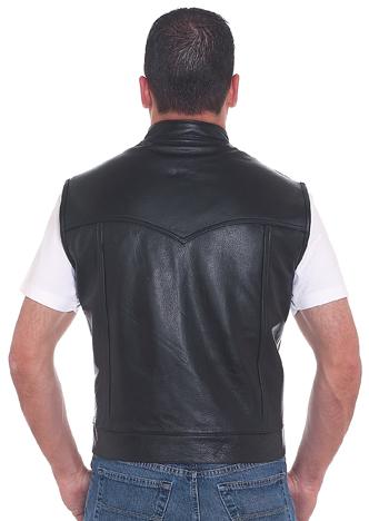 MV320<br>Mens leather vest, 2 front pockets