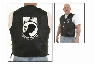 MV324-Pow<br>P.O.W. Leather Vest (Black)
