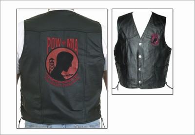 MV325-Pow<br>P.O.W. Leather Vest (Red)