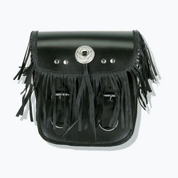 Sissy bar bag with braid & fringes with concho