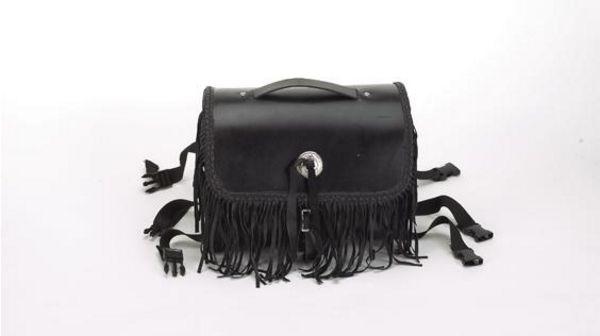 Sissy bar bag with stud, fringe