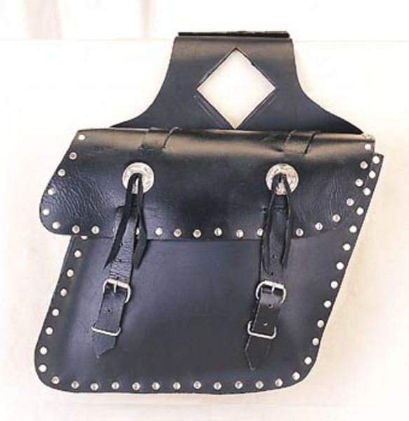 Leather saddle bag concho,studs,slant