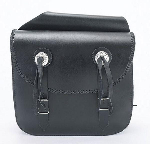 Plain LEATHER saddle bag with braid & concho