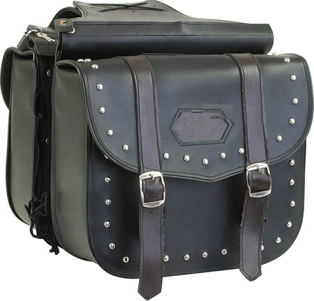 SD4053-PV<br>PVC SADDLEBAG WITH STUDS & BROWN STRAPS