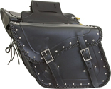 SD4065-PV<br>Slanted PVC Saddlbag w/ Studs & Braid