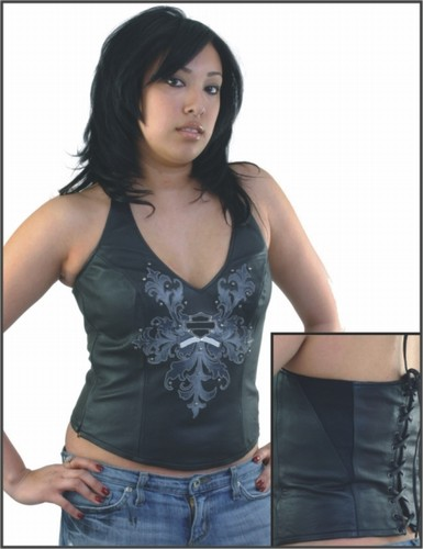 SK935<br>Ladies Leather Halter Top w/ Studs
