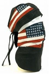 Leather face mask USA flag ajdustable velcro strap, one size