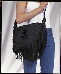 Ladies black rose inlay purse large