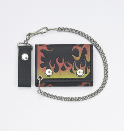Biker Trifold Chain Wallet W/ Flame
