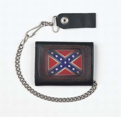 Biker Trifold Chain Wallet W/ Rebel Flag