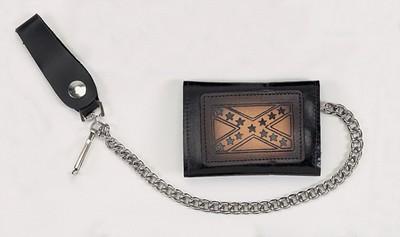 Biker Trifold Chain Wallet W/ Rebel Flag-2
