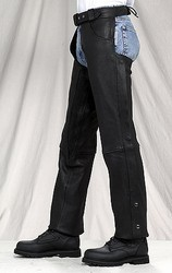 C332-01<br>Plain Leather Chaps w/ Gathered Thighs (Naked Leather)