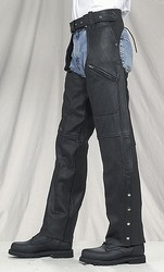 C334-01<br>Plain LeatherChaps w/ 3 pockets (Naked Leather)