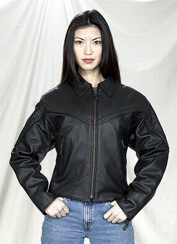DLJ241-01<br>Ladies Naked Cowhide Motorcycle Jacket