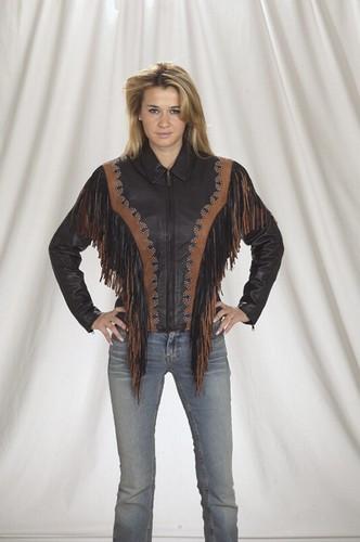 DLJ258<br>Ladies Jacket with stud and fringe