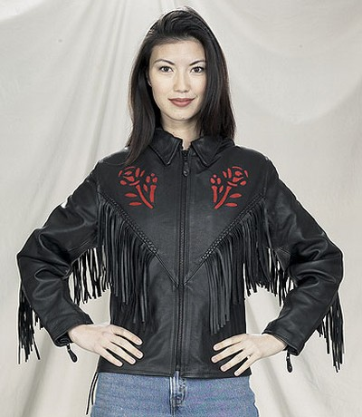 DLJ277-09<br>Ladies Red Rose Inlay Jacket