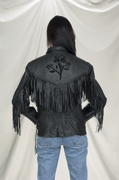 DLJ278-09<br>Ladies black rose Inlay jacket