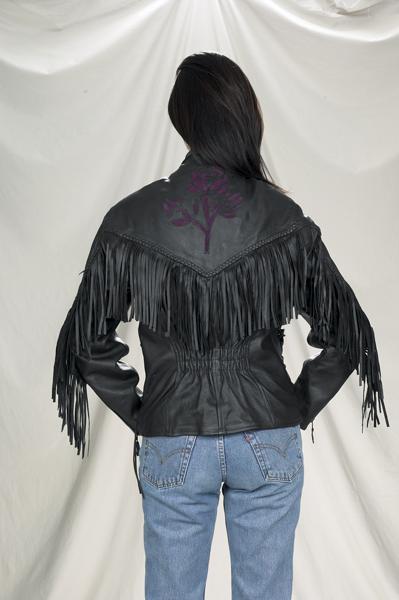 DLJ281-01<br>Ladies Naked Cowhide Purple Rose Inlay Jacket
