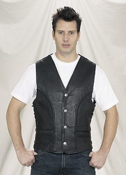 MV318-09<br>Deluxe Leather Vest w/Braid-Side Lace-Buffalo Nickel Snaps (Medium Weight)