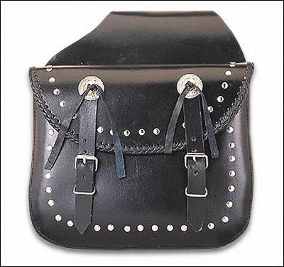 Leather Saddlebag w/ Braid, Studs & Conchos