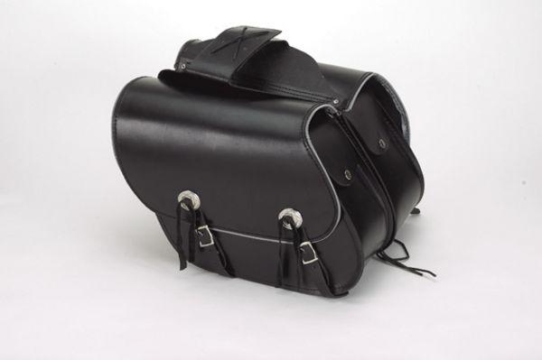 Leather Throwover slanted saddle bag with light reflector