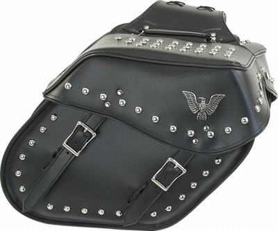 PVC SADDLE BAG WITH STUDS & EAGLE-LIFE TIME WARRANTY