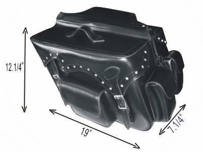 PVC-Throwover saddle bag with studs