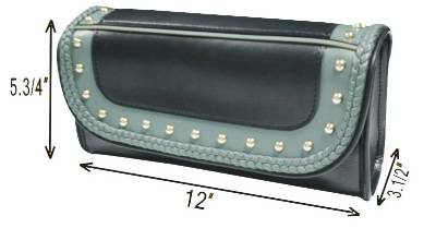 TB3030-12<br>PVC-Toolbag, gray braids, studs, water proof, PVC 12&#34;